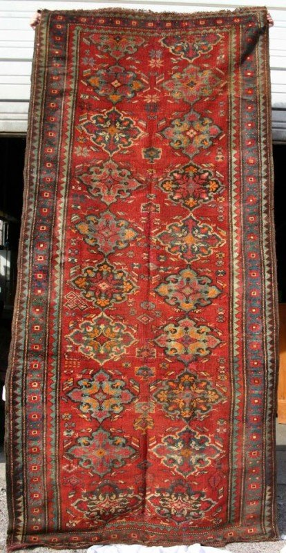 "2: 4'3""x9'1"" semi antique Oriental corridor rug"