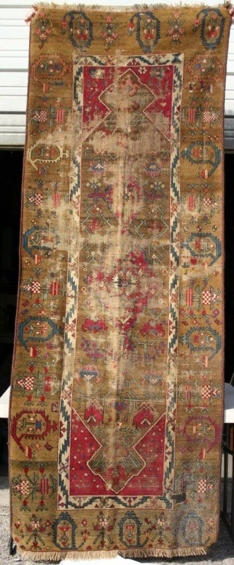 "4: 3'2""x8'8"" antique Oriental Runner on camel field - w"
