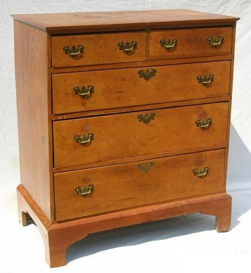 15: 18thC period Chippendale 2 over 3 drawer pine brack