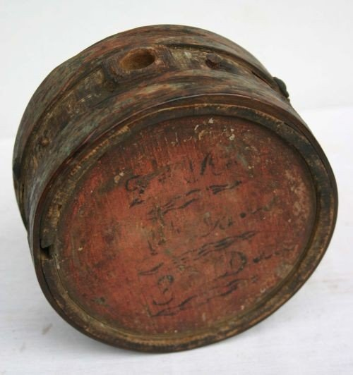 18: Rare American Rev War wooden staved canteen w War o