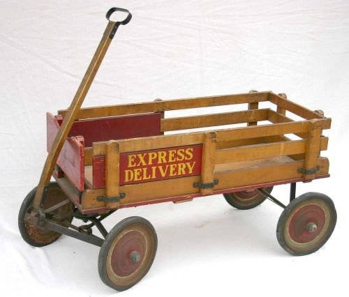 "20: antique child's ""Express Delivery"" wagon in orig pa"