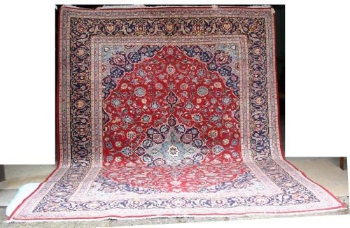 "21: 9'6""x13'1"" semi antique Persian Kashan Oriental Rug"
