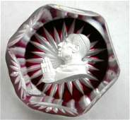 229: Fine sgnd Baccarat sulfide paperweight of Pope Piu