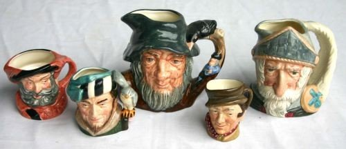 "5: 5 Royal Doulton Toby Jugs: D6460 ""Don Quixote""; D646"