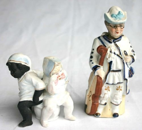 "7: 2 antique bisque figures - 1 a 7"" nodder figure of a"