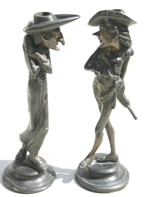 12: pr of unusual bronze caricature candlesticks - 13""