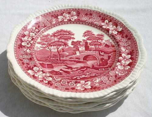"18: set of 6 Copeland ""Spode's Tower"" pattern dinner pl"