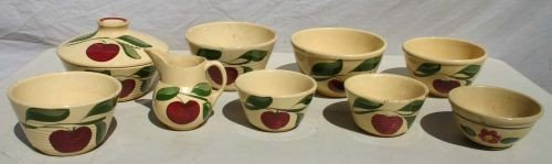 22: lot of 9 pieces of Watt yelloware items incl 7 bowl
