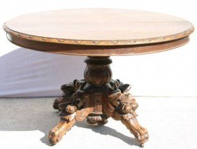 """Victorian Carved Oak Unusual Oval 40""""x45"""" Table W"""