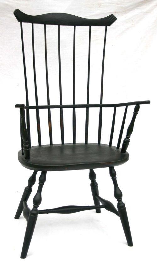 186: ca 1780 Central MA period Windsor comb back armcha