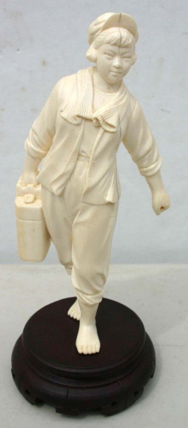 197: Chinese carved ivory figure of a barefoot girl w s