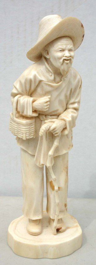 199: large Chinese carved ivory figure of a peasant w m