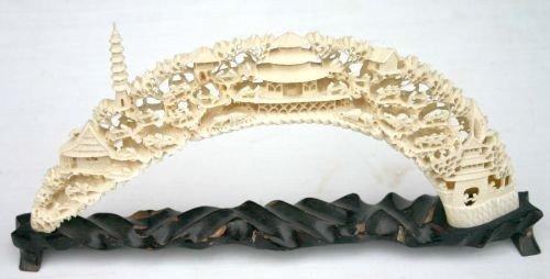 203: Huge ivory carved intricately detailed bridge vill