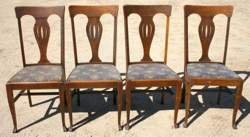 206: set of 4 antique oak dining chairs w pierced carve