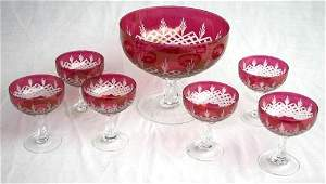 380: fine quality antique cranberry cut to clear glass