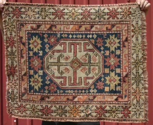 """2: 2'x2'5"""" antique Caucasian mat"""