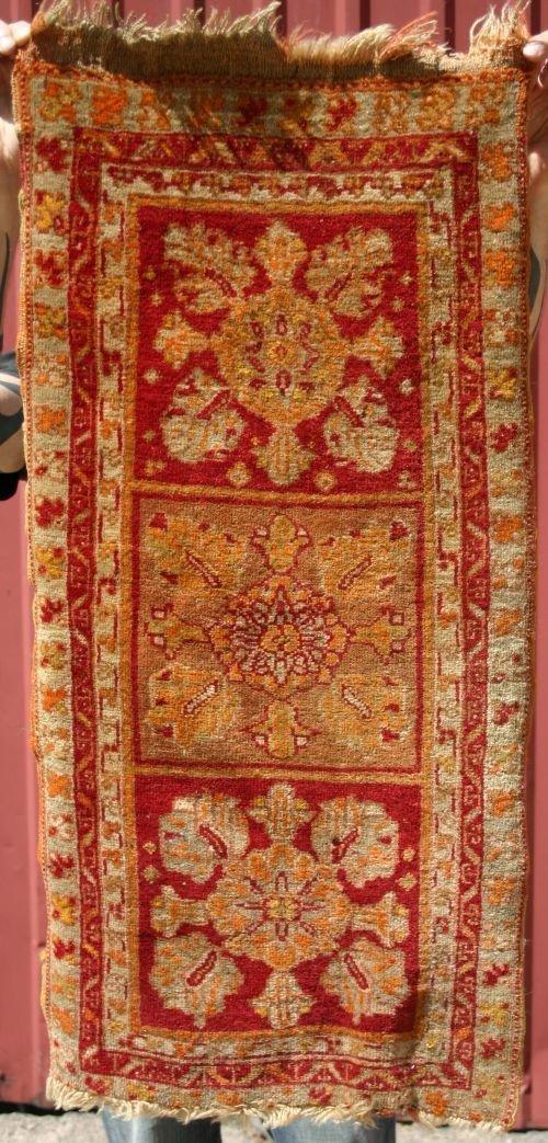 "6: 18 1/2"" x 3' antique Turkish mat"