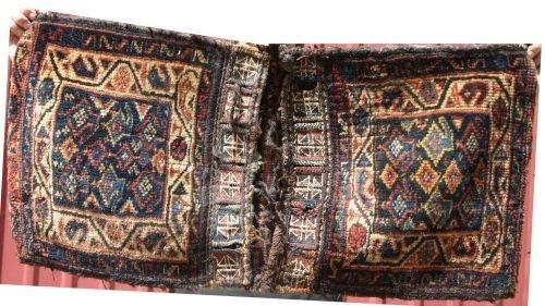 """9: 1'5""""x3' antique Persian saddle bag"""