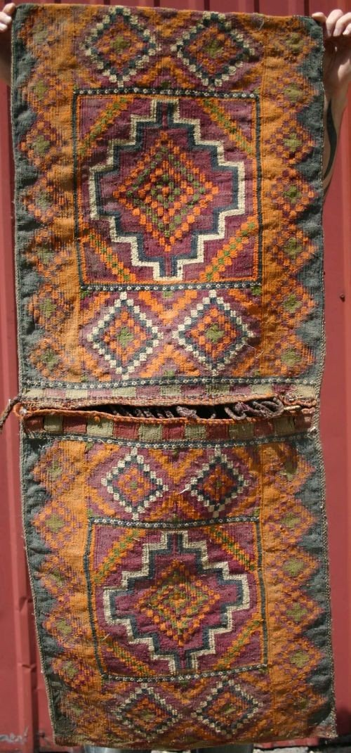 "11: 1'9""x4'3"" semi-antique Afghan saddle bag"