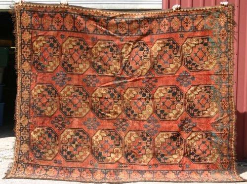 "12: 7'2""x8'3"" antique Afghan Ersari Oriental Rug"