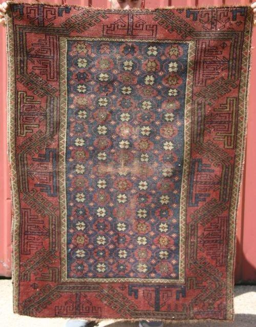 """20: 3'3""""x4'4"""" antique Balouch area rug"""