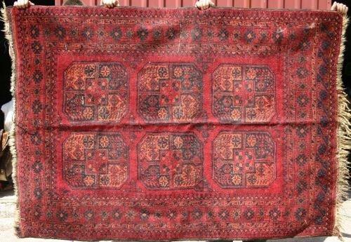"21: 4'8""x6'5"" semi-antique Afghan Ersari Oriental area"