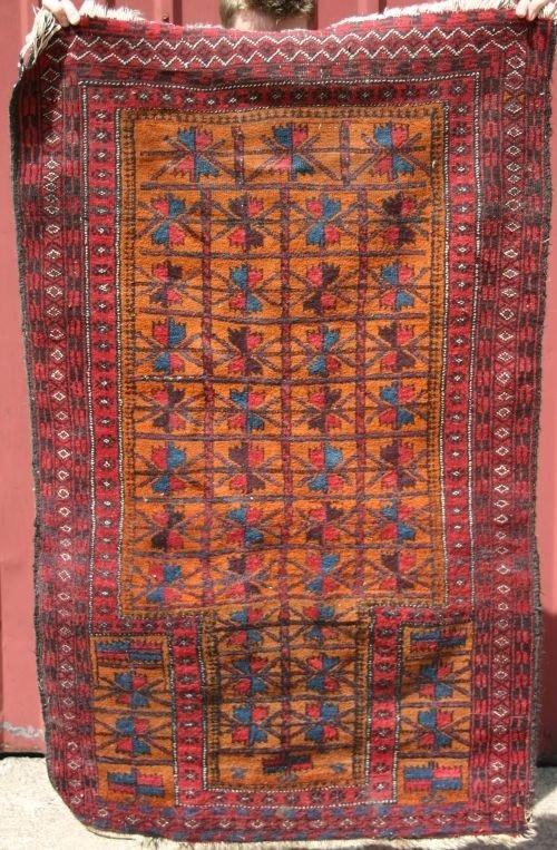 """23: 2'10""""x4'6"""" semi-antique Balouch Prayer mat"""