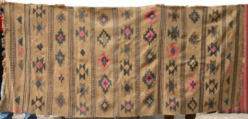 "24: 6'9""x9'2"" antique Native American rug or blanket"