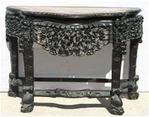 97: spectacular antique Chinese carved rosewood marble