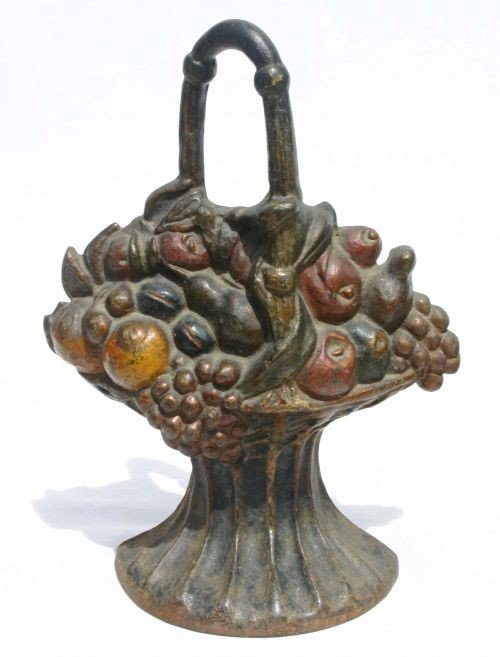 339A: antique cast iron large basket of fruit doorstop
