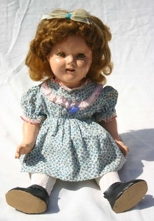 "2: ca 1940's composition 18"" Shirley Temple doll"