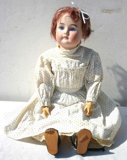 "3: antique German 22"" bisque head composition body doll"