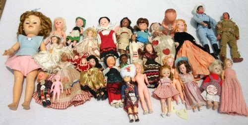 6: box lot of ca 1950's mostly hard plastic dolls incl