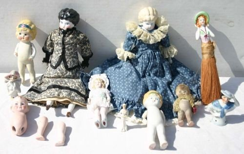 12: ca 1920's-30's lot of bisque & china dolls