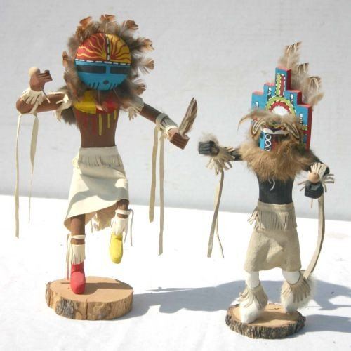 13: 2 ca 1980 Kachina dolls each is sgnd by the maker -