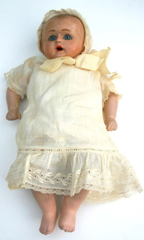 "19: ca 1890 possibly German 9"" composition baby doll in"