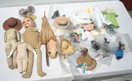 22: lot of antique doll parts & accessories