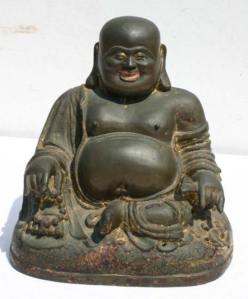 82: Superb late 19thC large bronze Chinese Buddha w tra