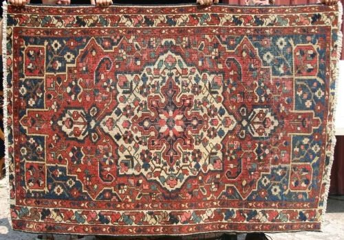 "13: 4'3""x6'2"" antique Persian Oriental area rug"