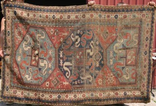 "19: 4'10""x7'10"" antique Oriental rug"