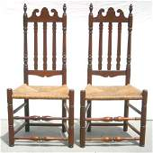 65 pr of ca 1750 CT maple banister back sidechairs