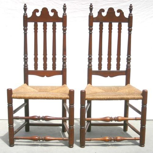 65: pr of ca 1750 CT maple banister back sidechairs
