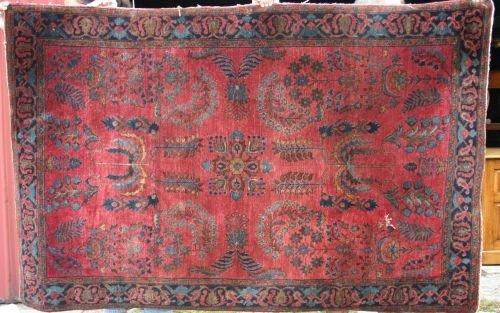 """1: 4'2""""x6'5"""" antique Sarouk Oriental area rug (fine wea"""
