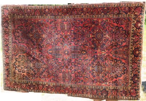 """3: 4'3""""x6'6"""" antique Sarouk Oriental area rug"""