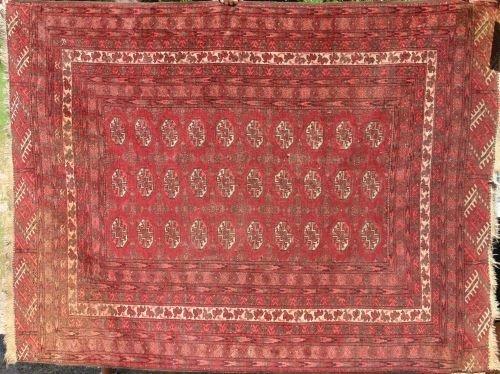"""6: 4'4""""x5'10"""" antique Tekke/Bohkara Oriental area rug"""