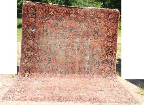 "8: 9'2""x12'4"" antique Sarouk Oriental rm size rug"