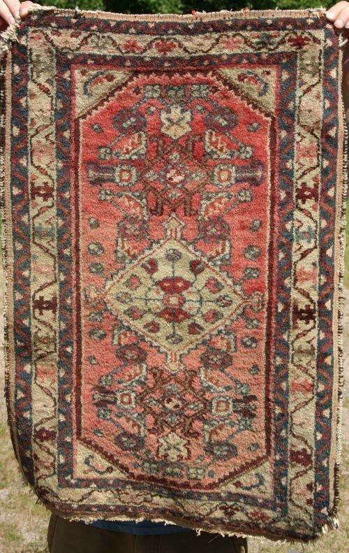 "9: 22""x34"" antique Hamadan Oriental mat"