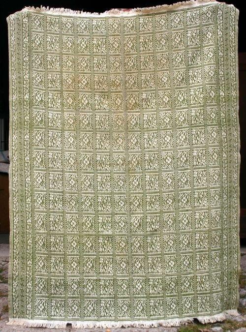 "16: approx 5'7""x7'8"" antique green & white homespun cov"
