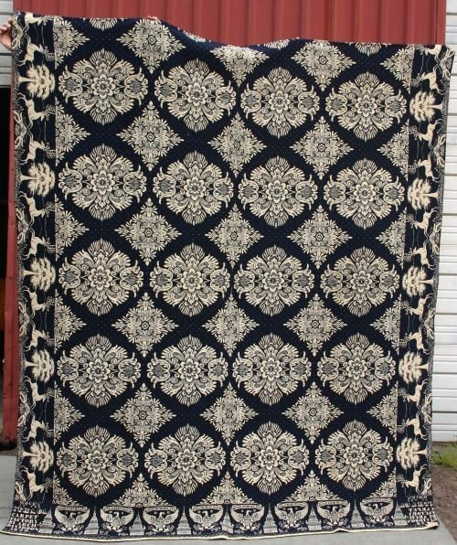 """17: approx 6'4""""x7'4"""" dated 1838 blue & white coverlet w"""