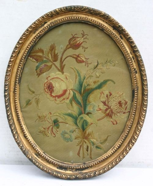 20: 18thC floral silk needlework in orig oval frame - o